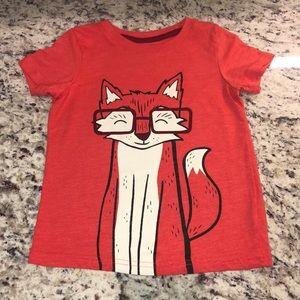 Boys Smart Fox Shirt Red 3T